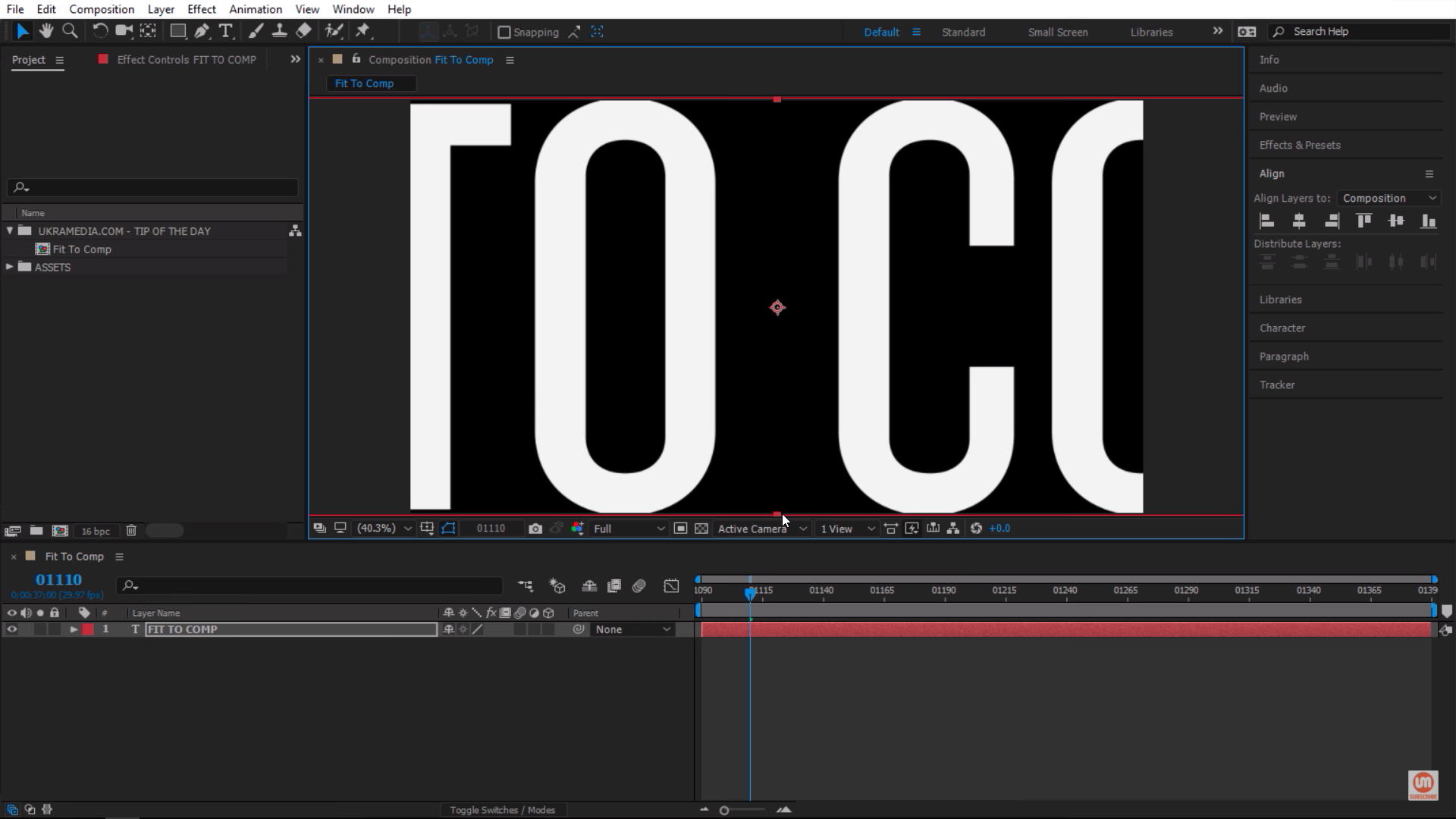 Fit to Comp for Height in Adobe After Effects Composition