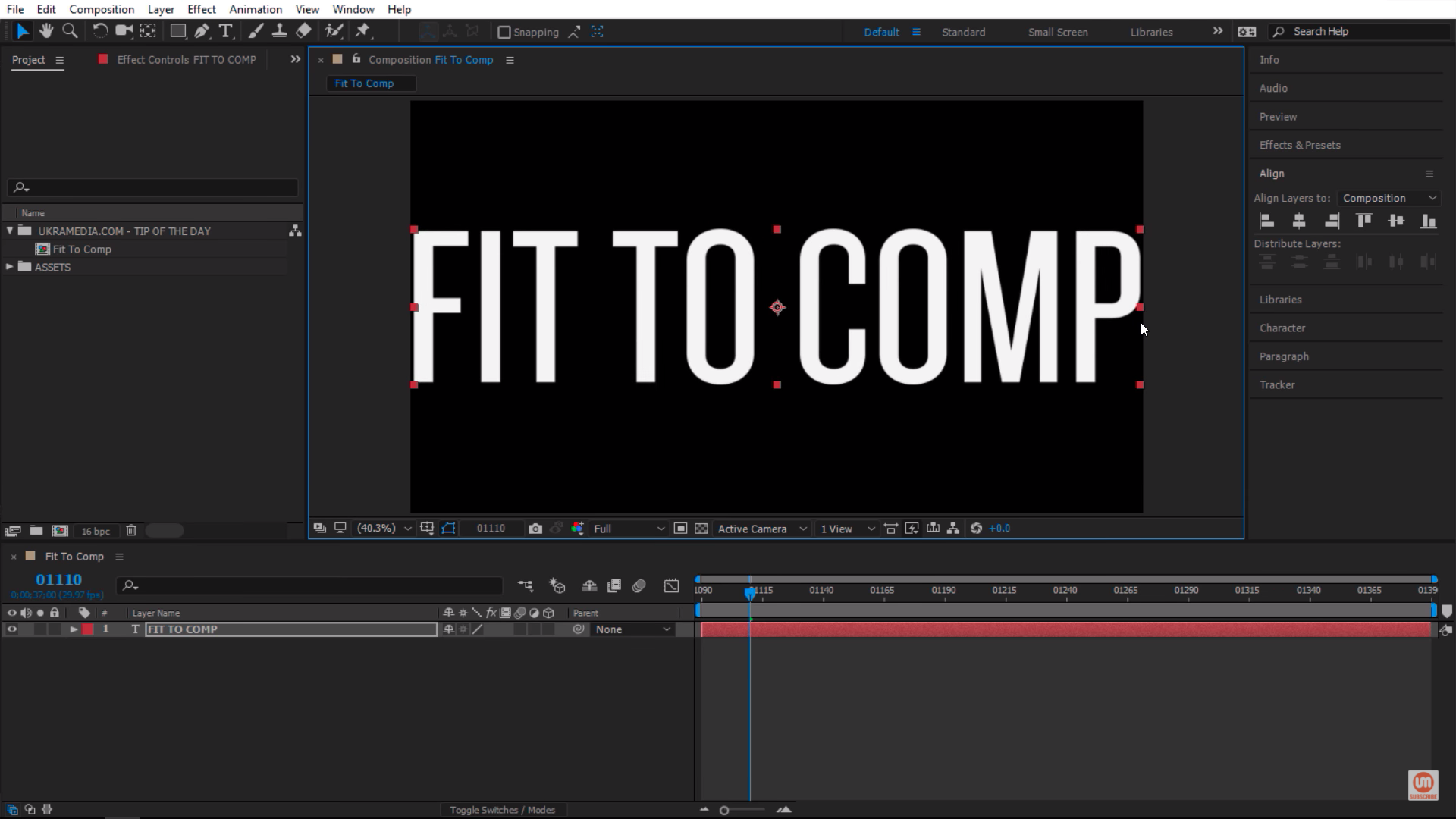 Full Width Text Layer After Effects