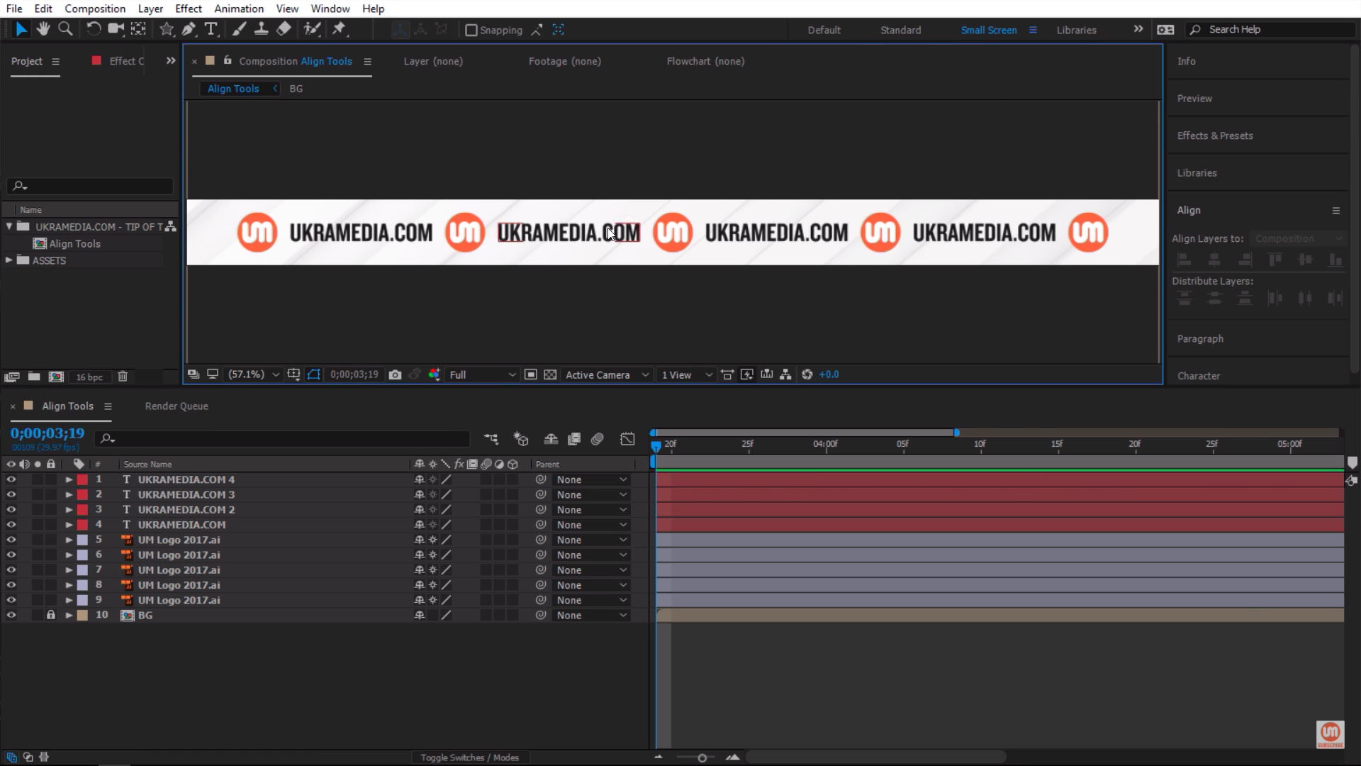 Horizontal Center Distribution in After Effects