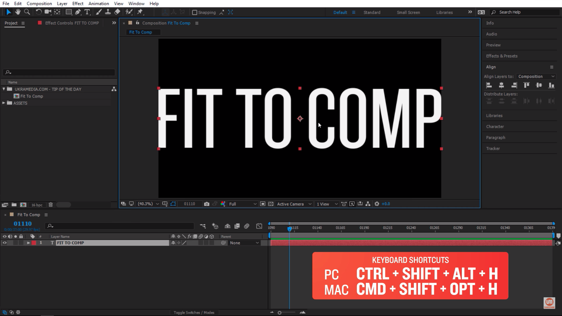Keyboard shortcut for fit to comp After Effects