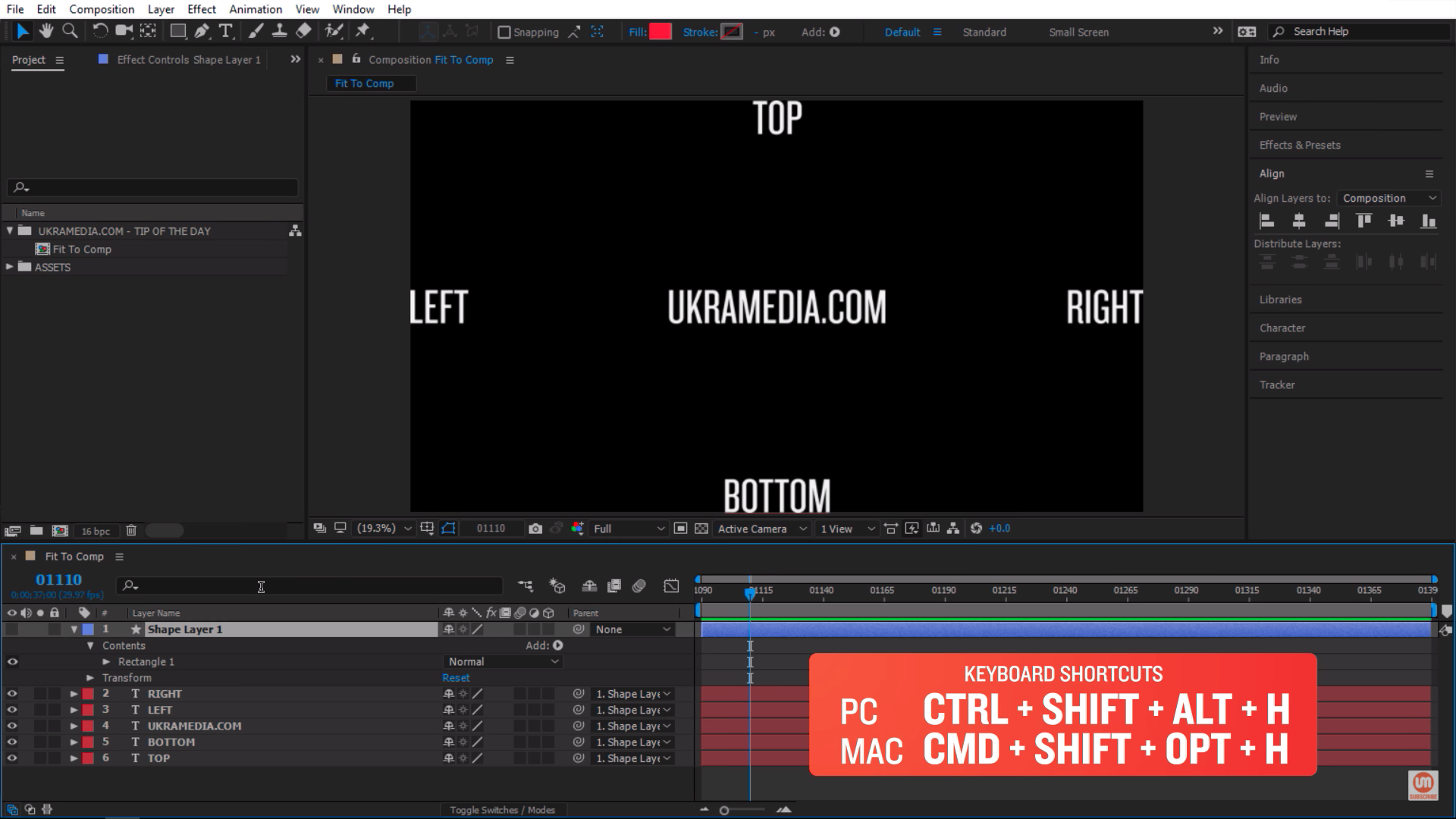 Keyboard shortcut for scale to composition in After Effects