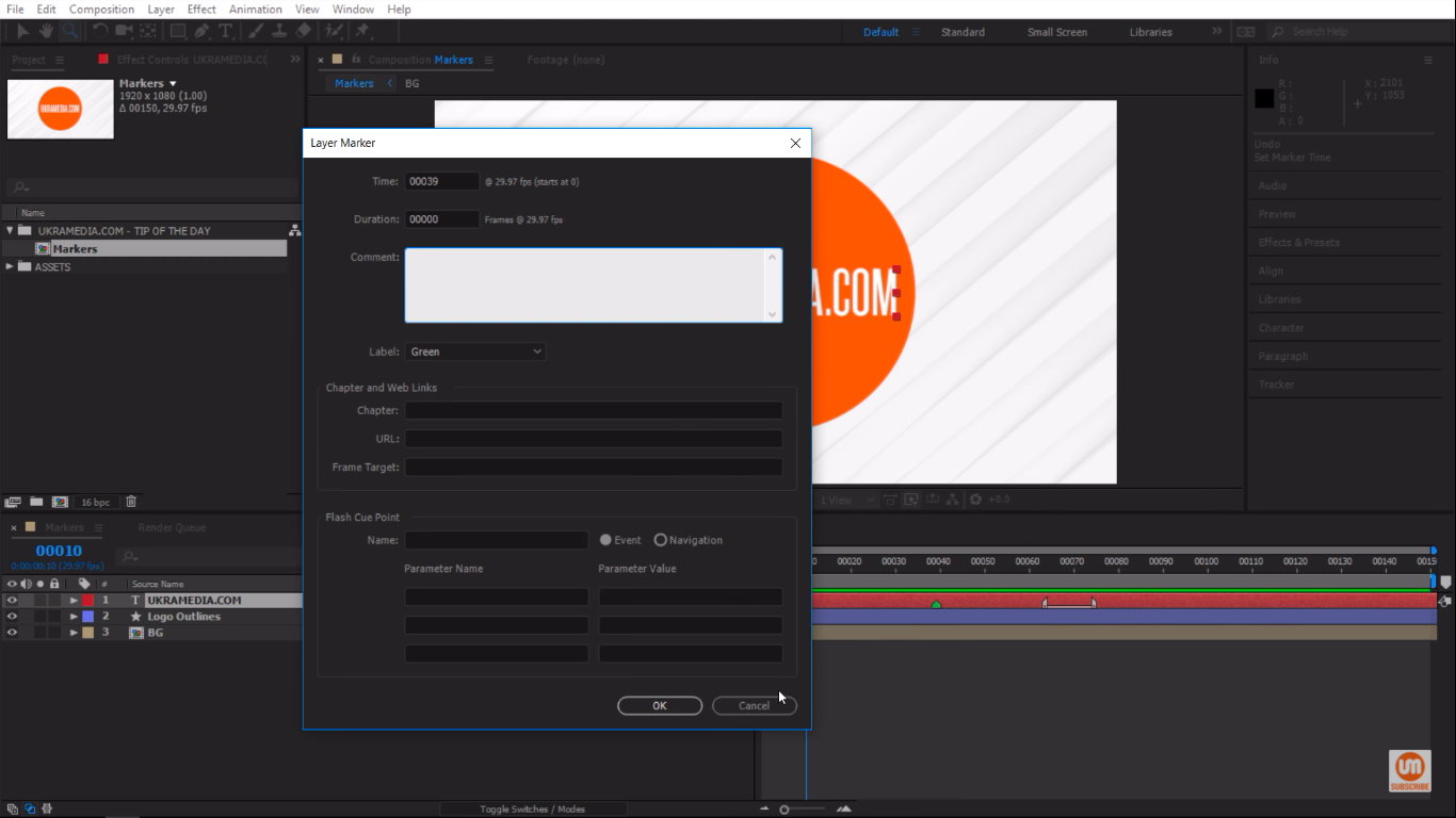 Layer Marker menu settings in Adobe After Effects