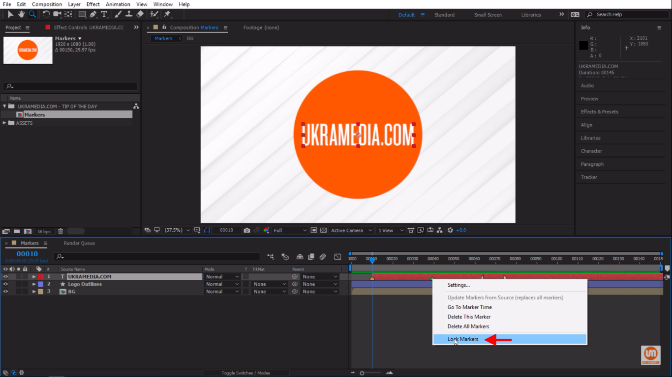 Lock Markers in Adobe After Effects