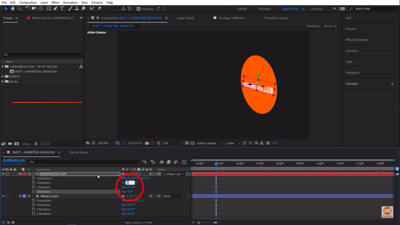 Manual rotation property in After Effects