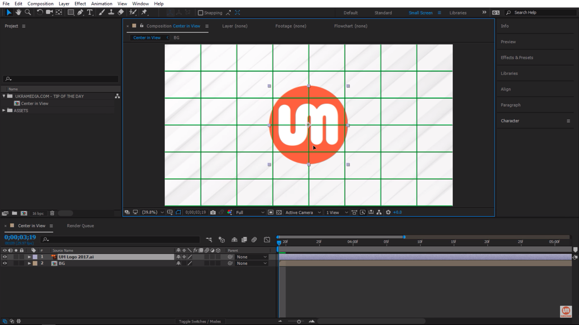 Manually centering logo in After Effects