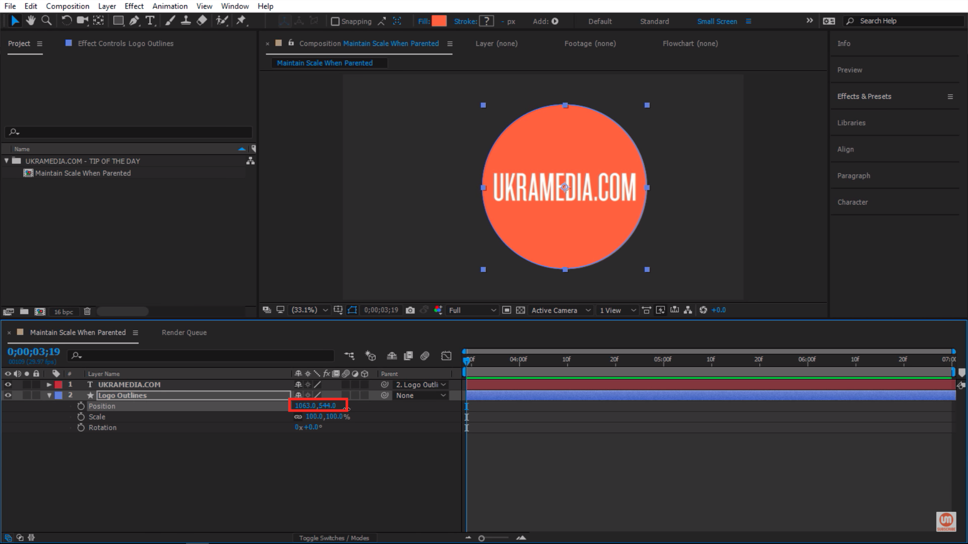 Moving the position of the circular shape layer in After Effects