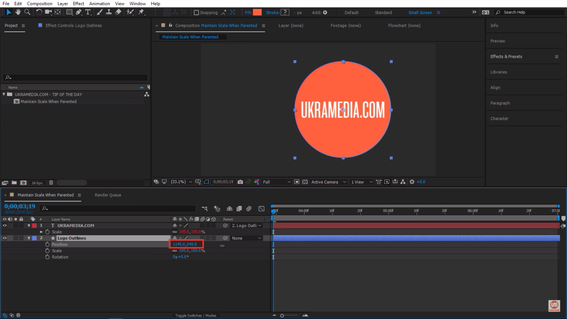 Moving the position property of the object in Adobe After Effects