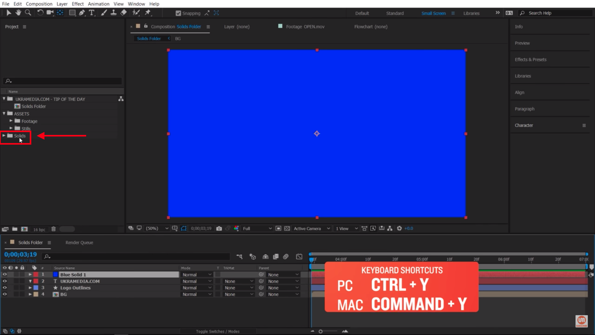 New Solids Folder in project panel in After Effects