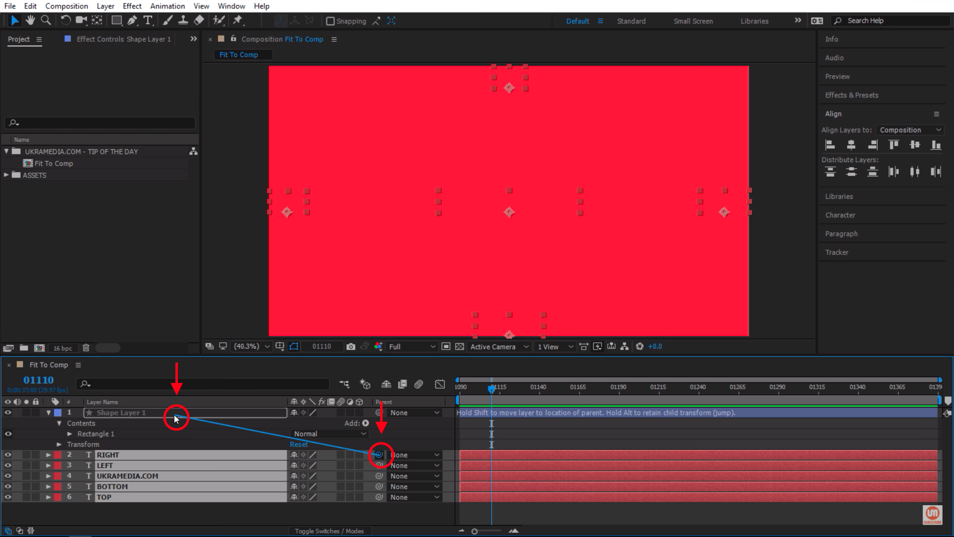 Parent to the shape layer in After Effects