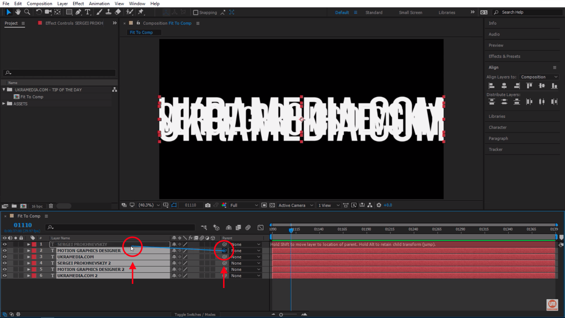 Parenting layers in After Effects