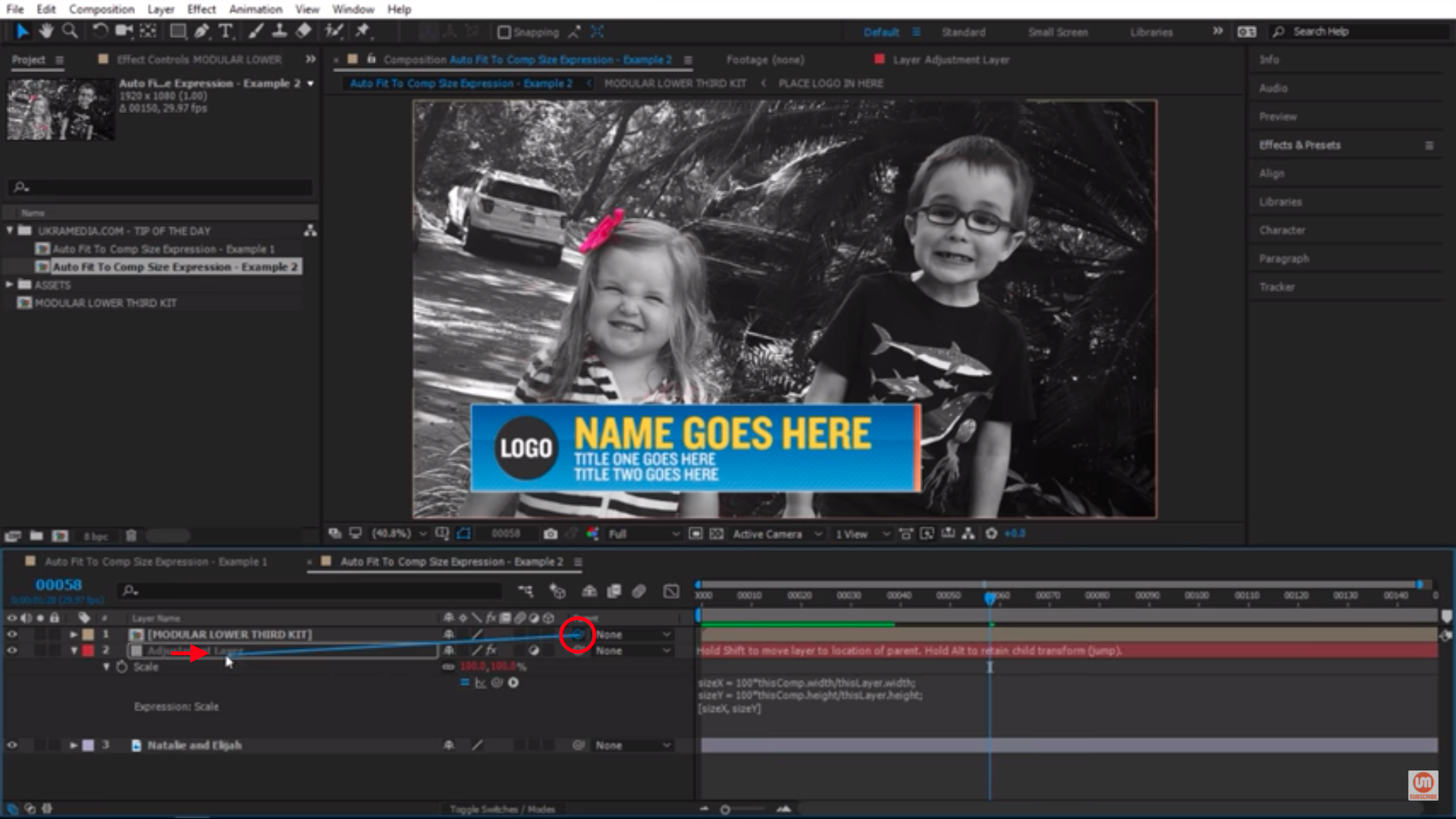 Parenting to adjustment layer in After Effects