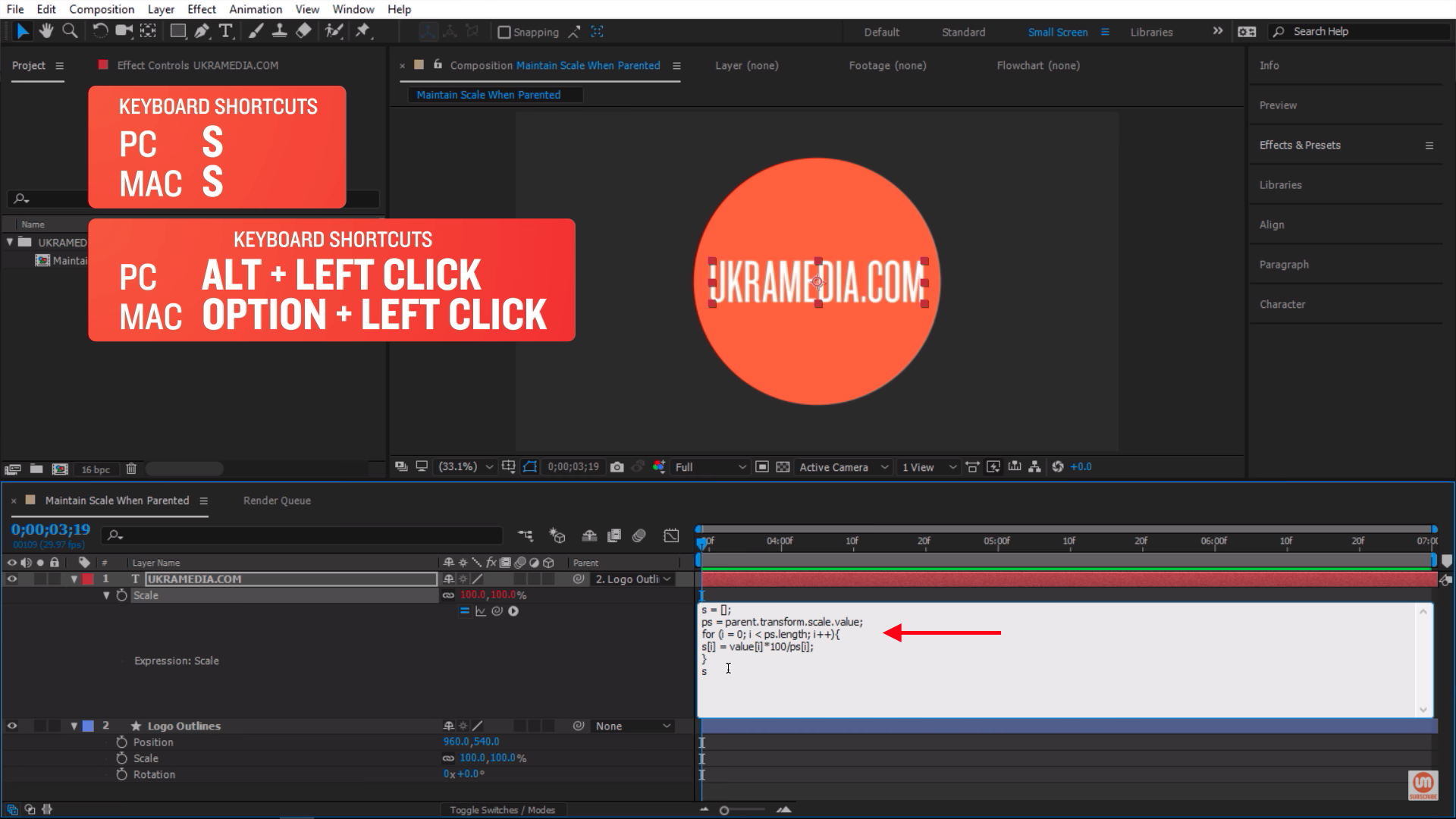 Paste Dan Ebberts Expression in Adobe After Effects