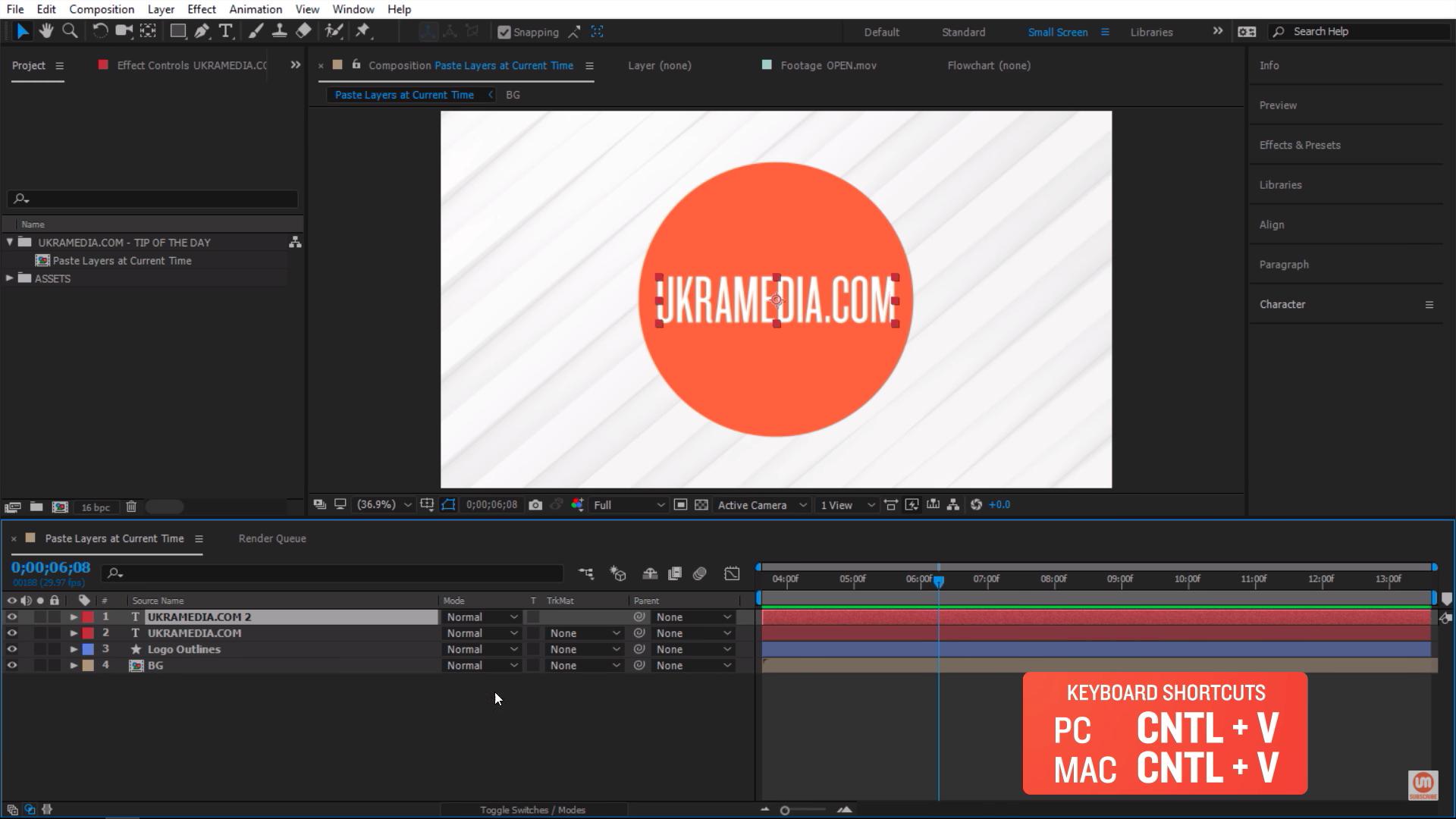 Paste keyboard shortcut in Adobe After Effects