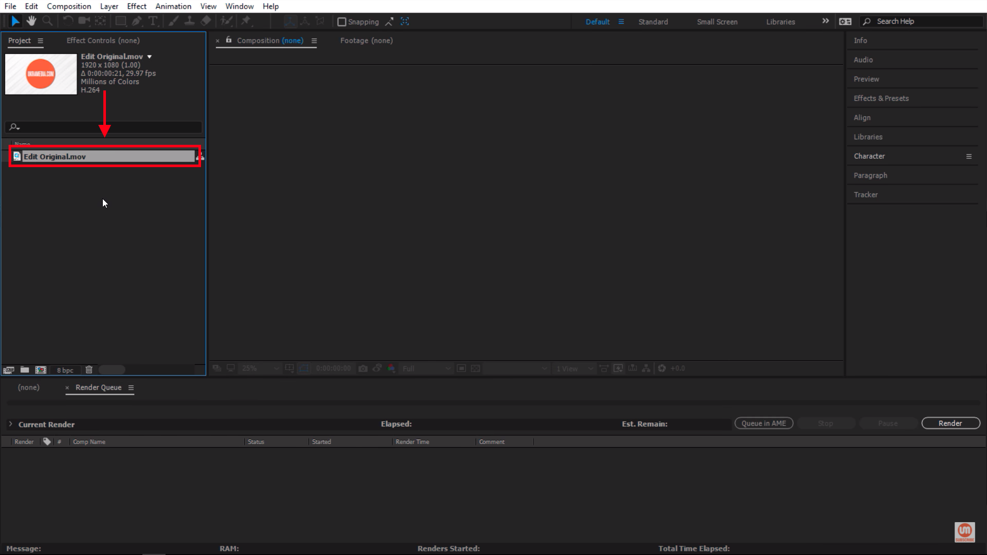 Project File Selected In After Effects