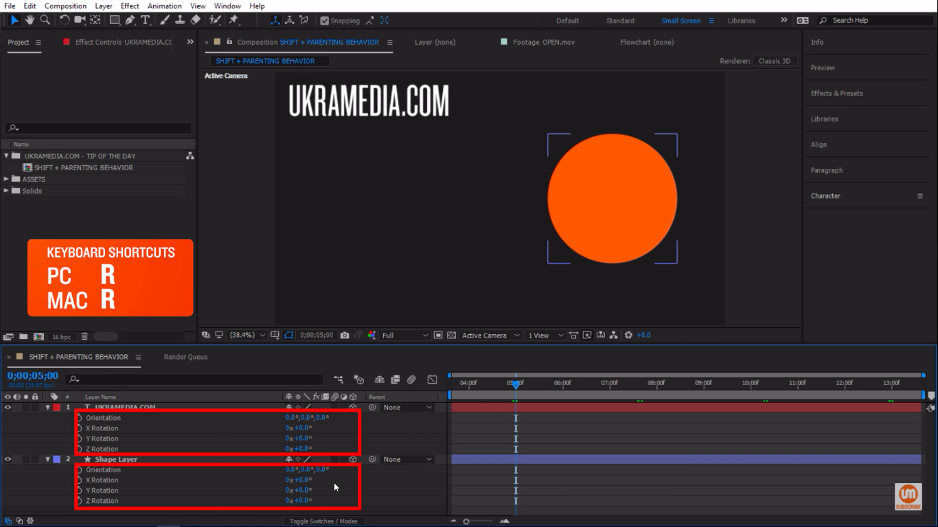 Press R to reveal the rotation property in After Effects