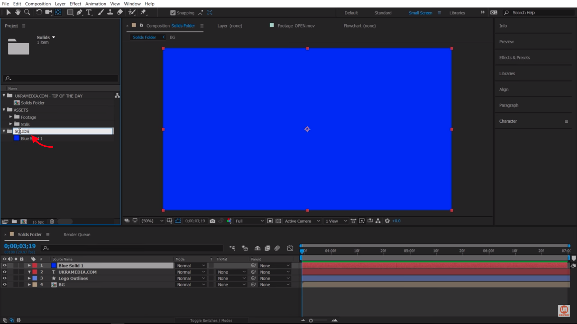 Renaming Solids Folder in After Effects