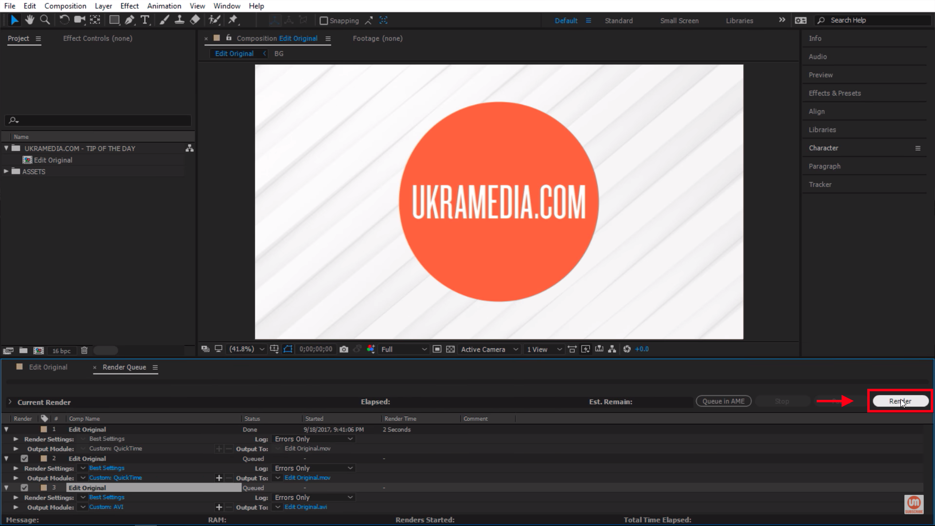 Render in After Effects