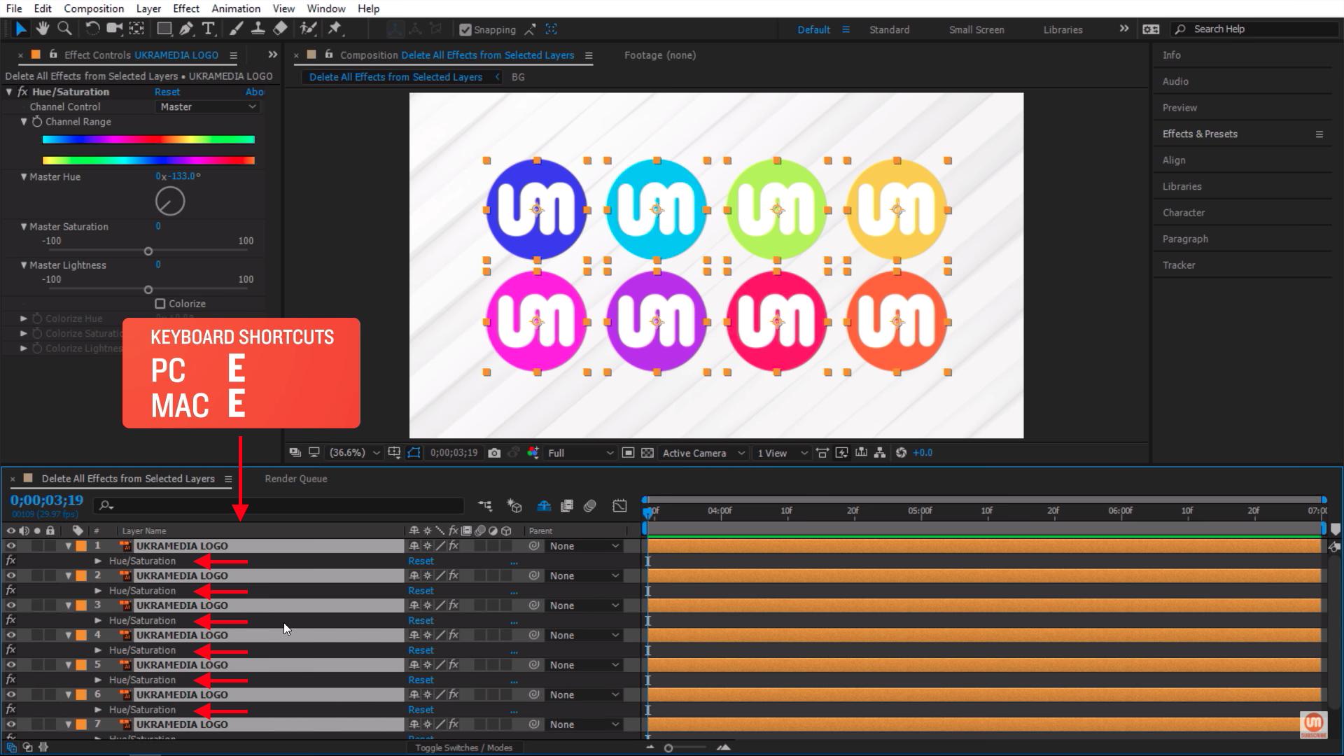 Reveal Effects keyboard shortcut in Adobe After Effects