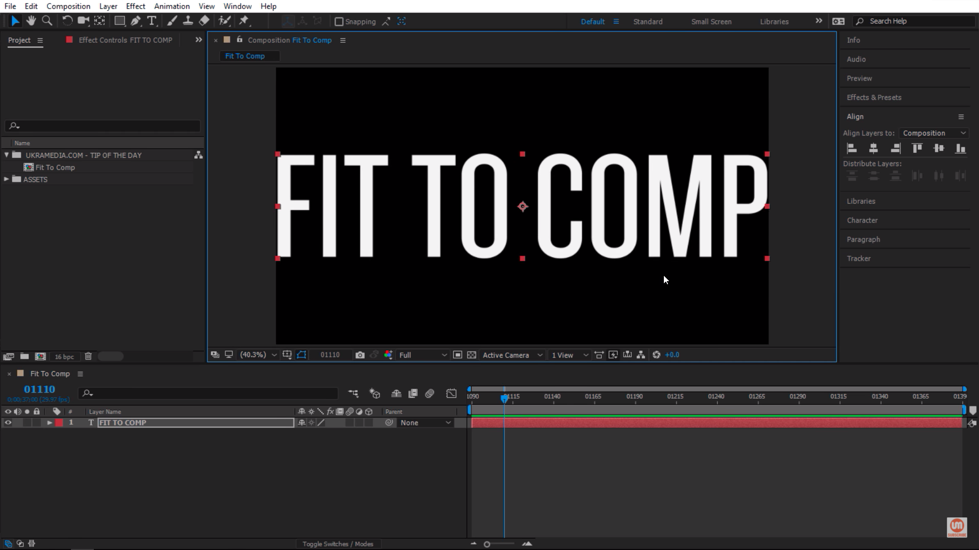 Scale to fit to comp in Adobe After Effects