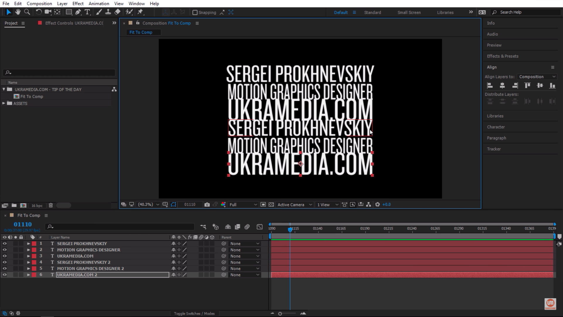 Scaling each text layer one by one in After Effects