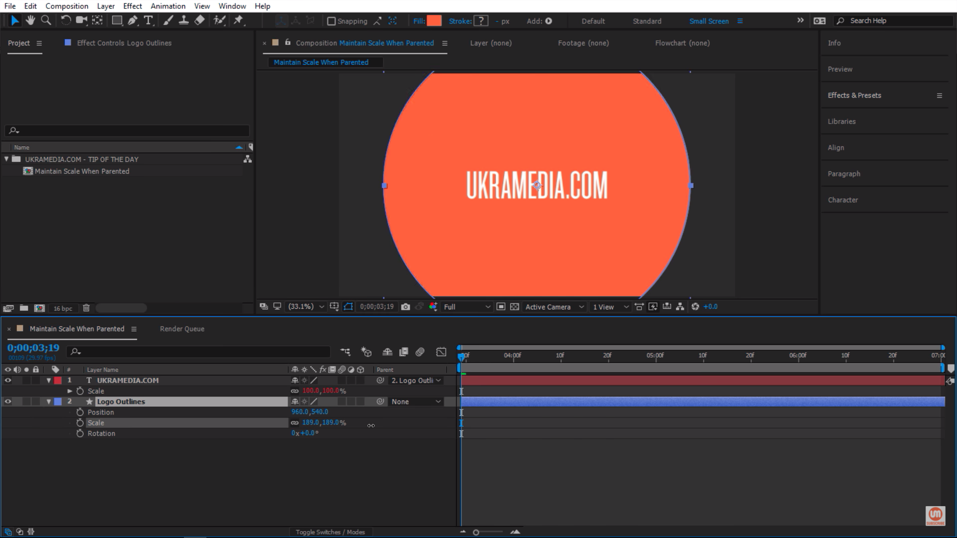 Scaling property in Adobe After Effects