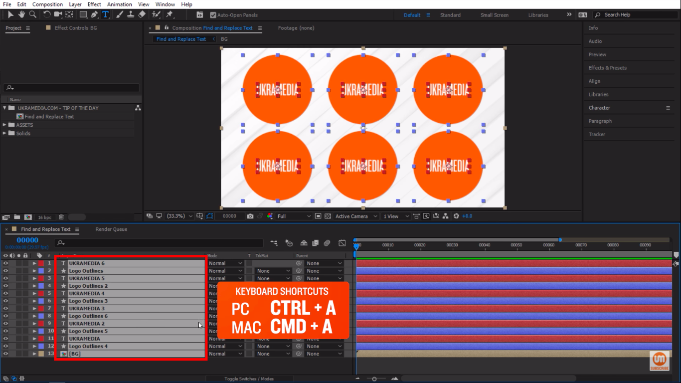 Select all layers keyboard shorcut in Adobe After Effects