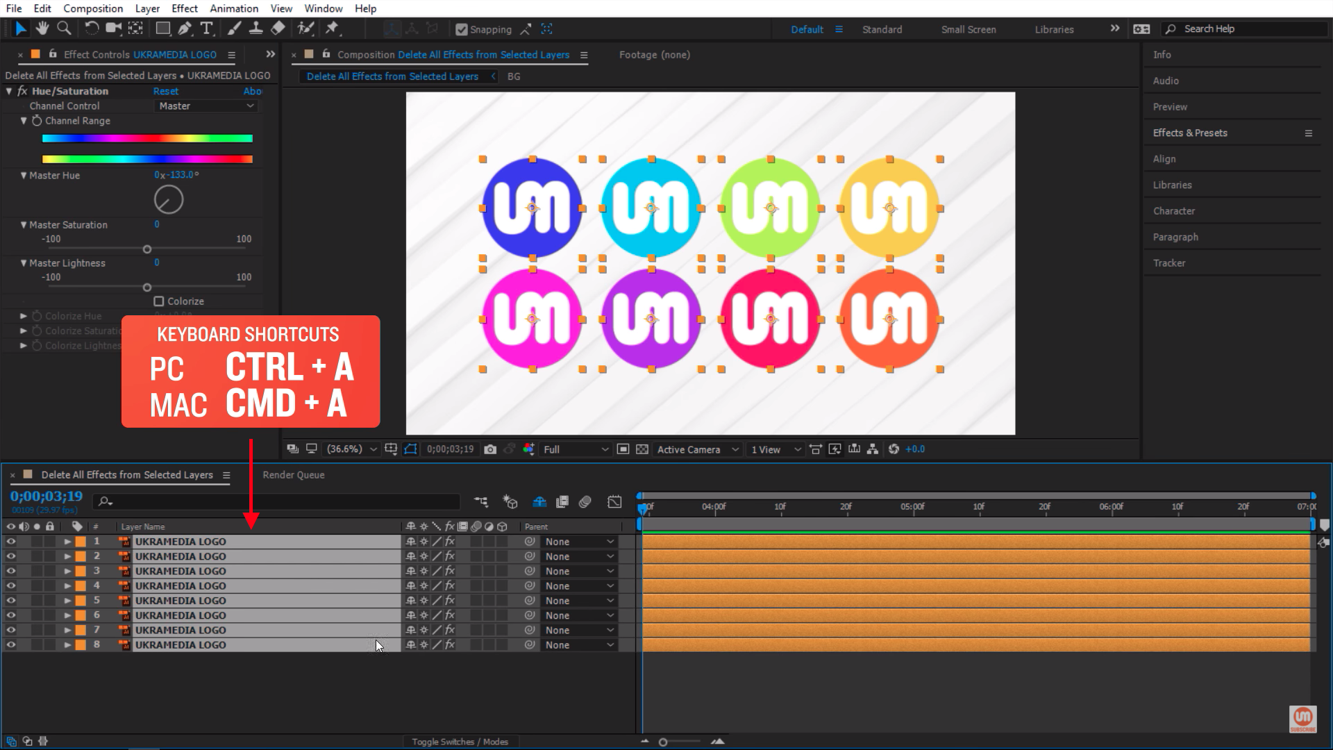 Select layers After Effects