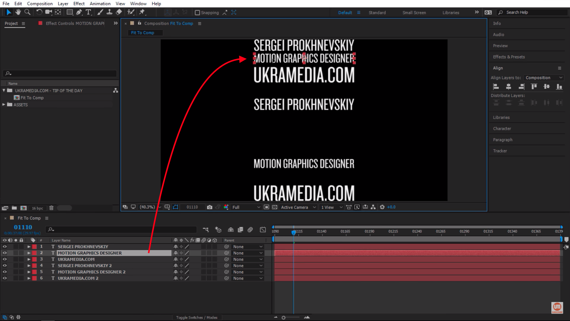 Select the layer and bring it up in After Effects