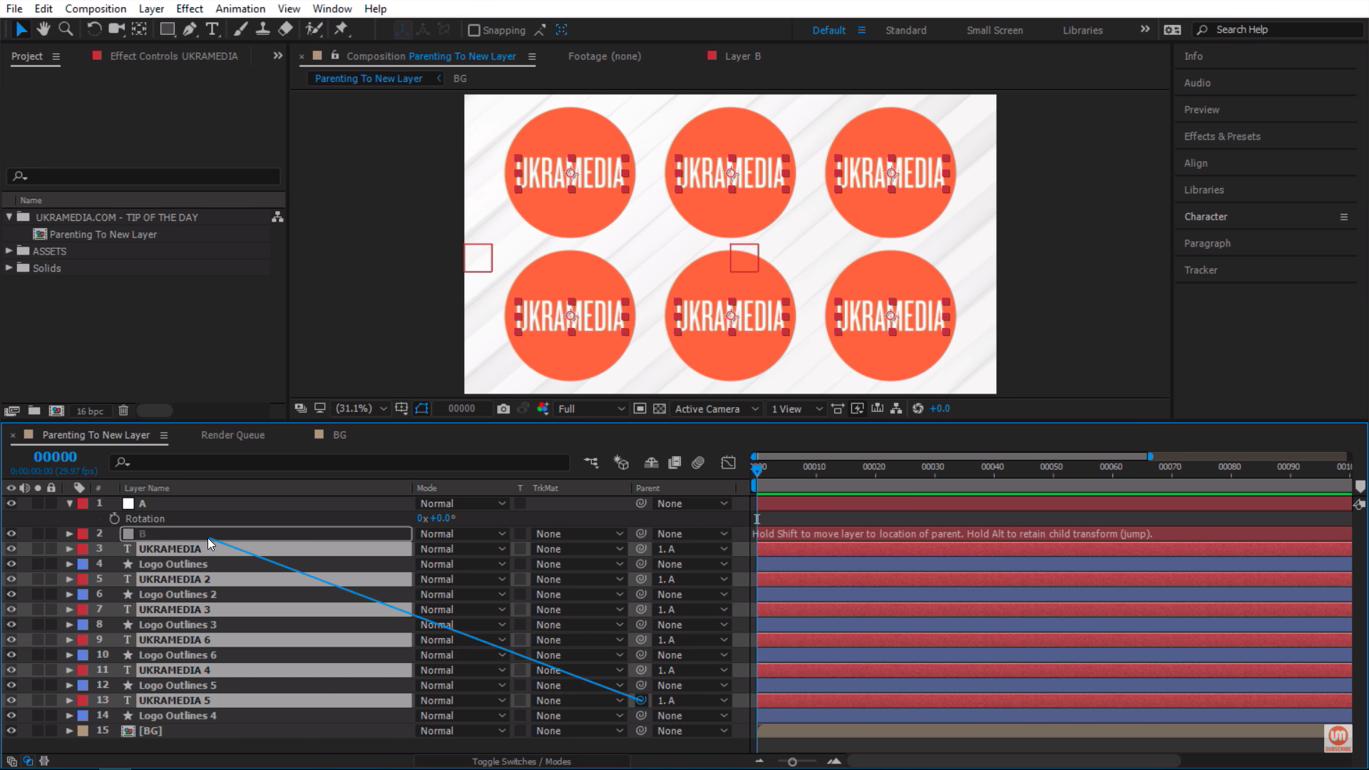 Selecting and pick-whipping text layers in Adobe After Effects