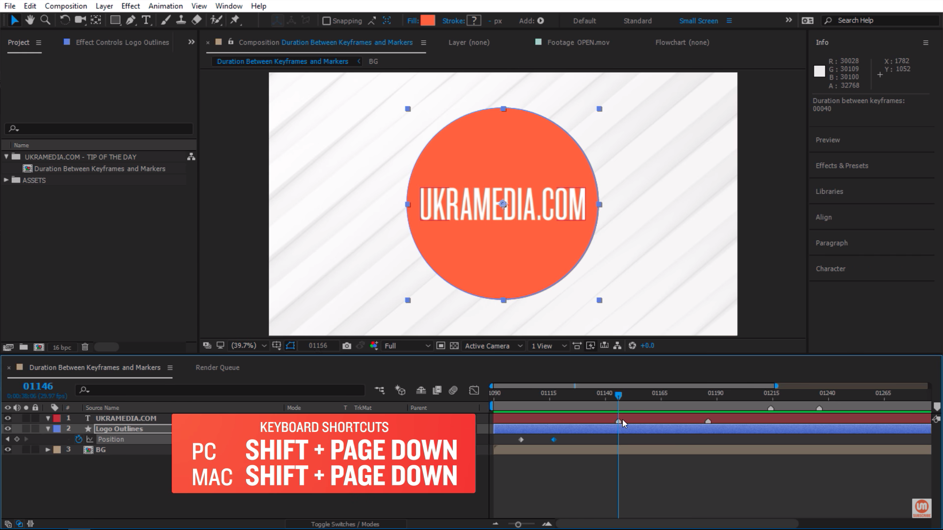 Shift Page Down Timeline Marker After Effects