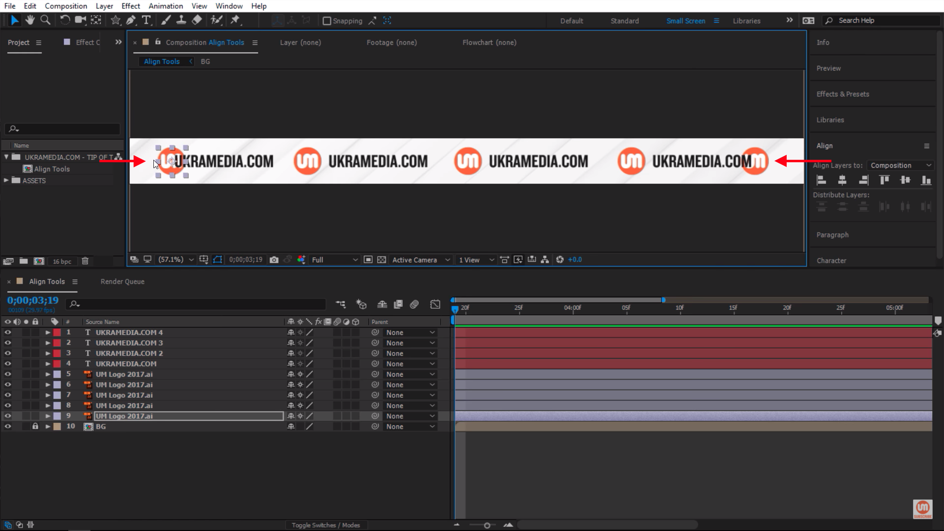Shift logos inside of composition in After Effects