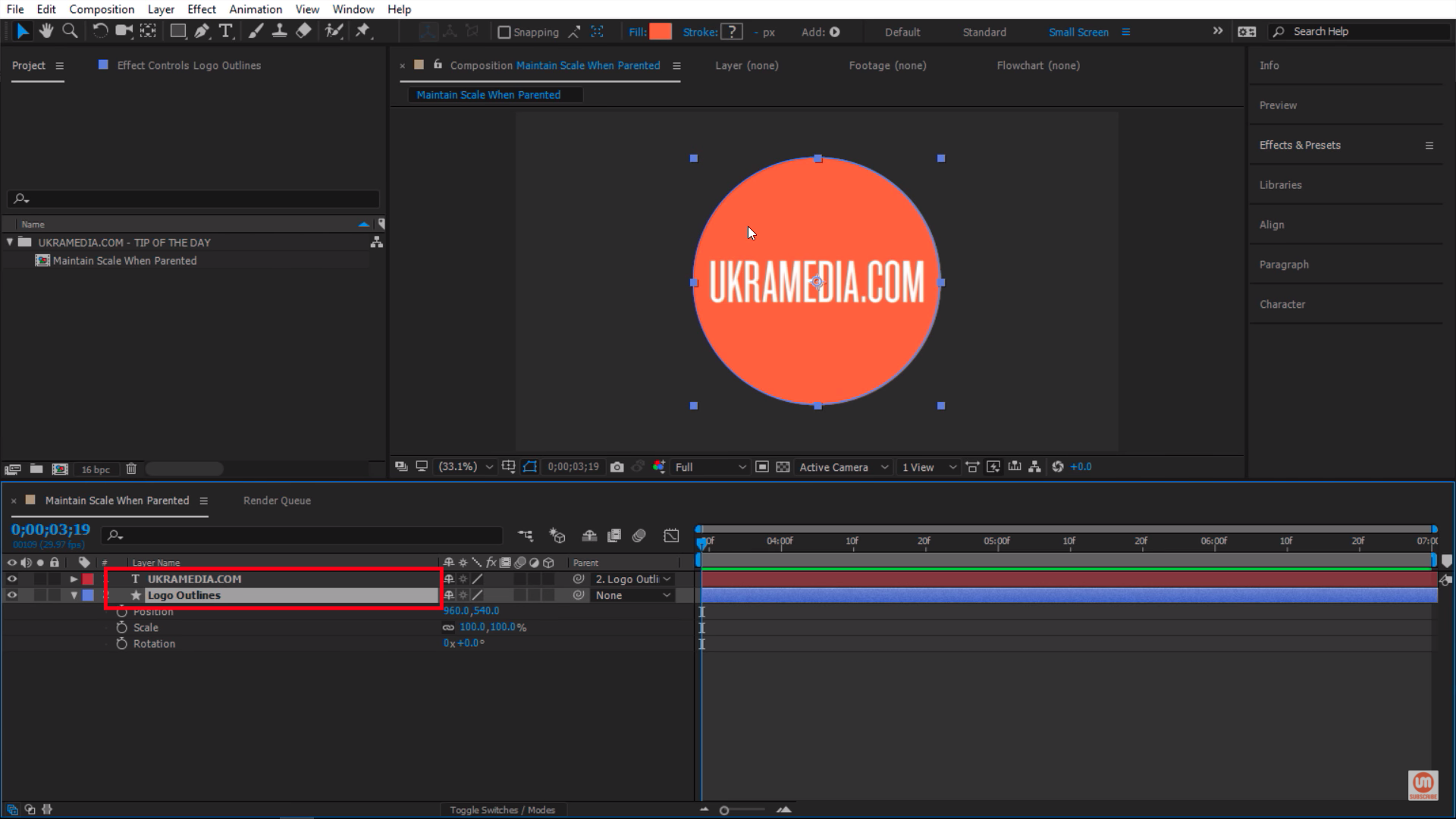 Simple setup in Adobe After Effects