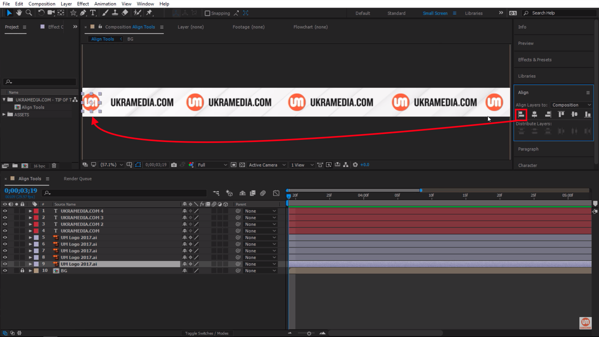 Snap logo to the left with vertical left alignment button after effects