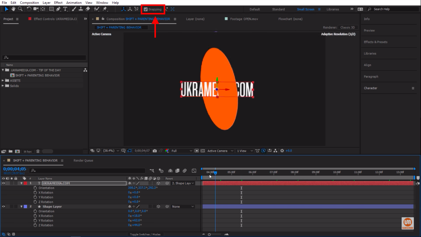 Snapping Tool After Effects