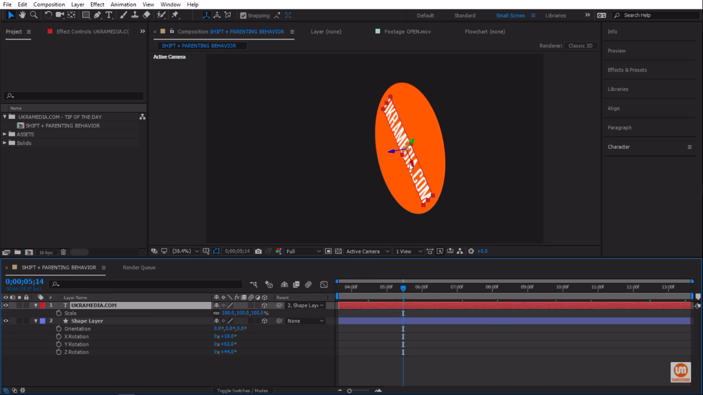 Snapping to the center of shape layer in After Effects