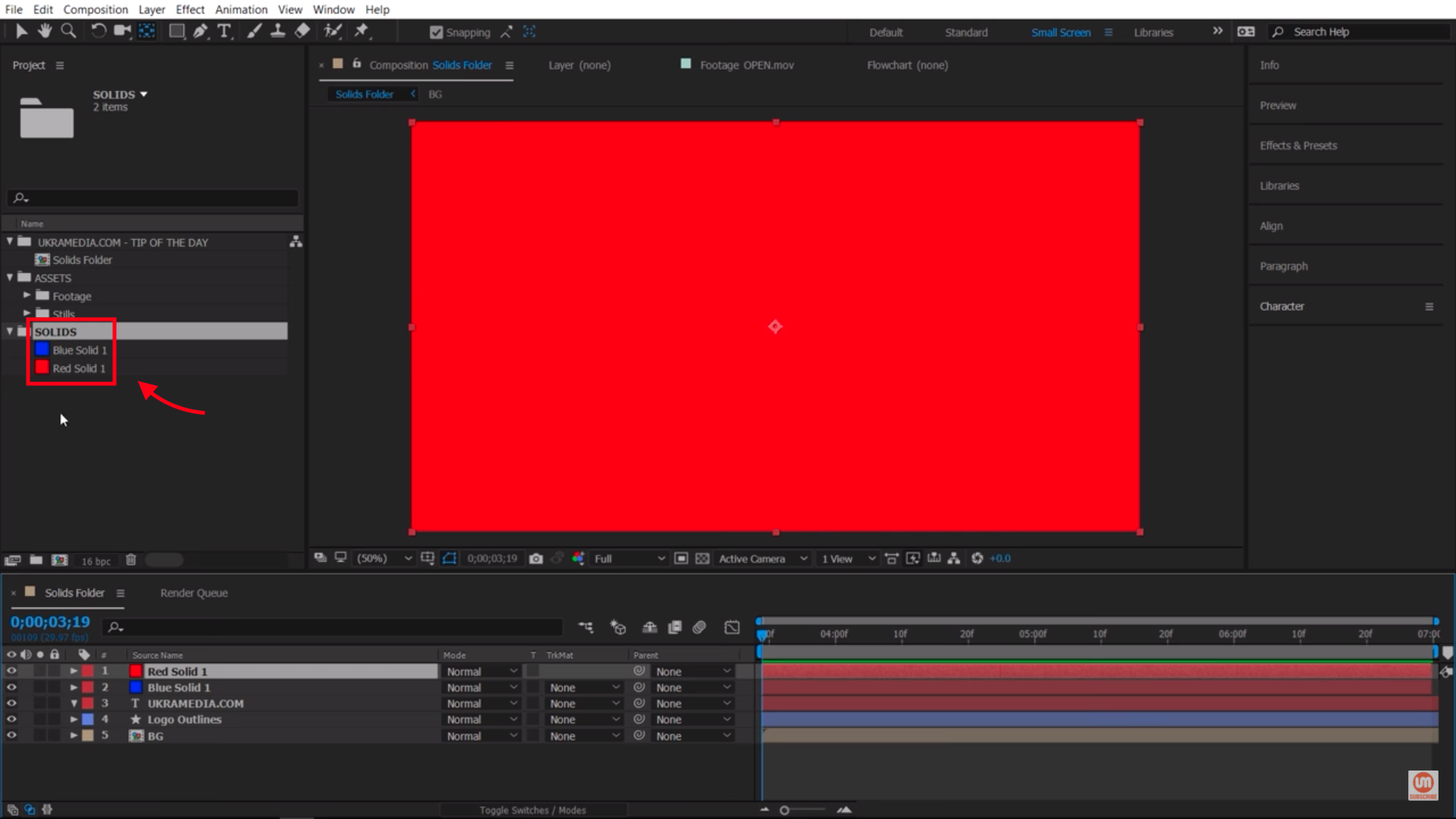 Solids Folder After Effects