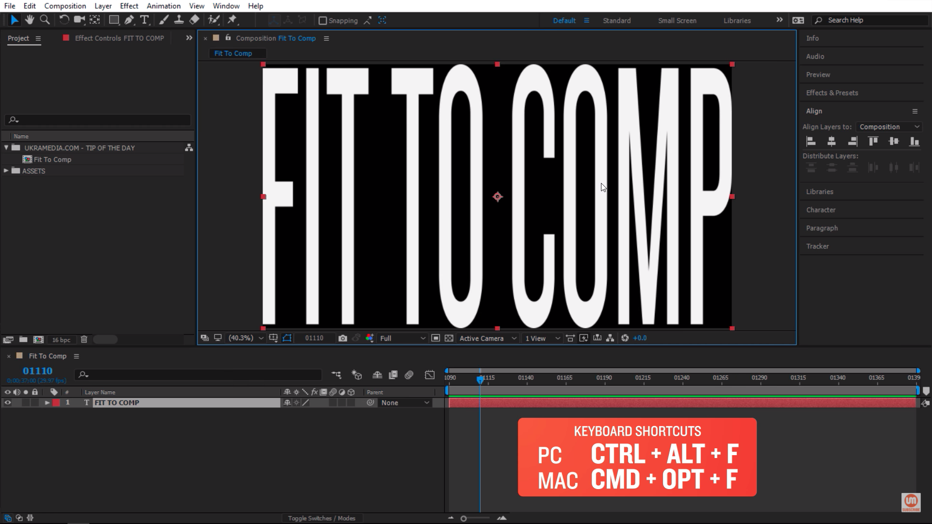 Stretch my text layer to the exact size of my composition keyboard shortcut in Adobe After Effects