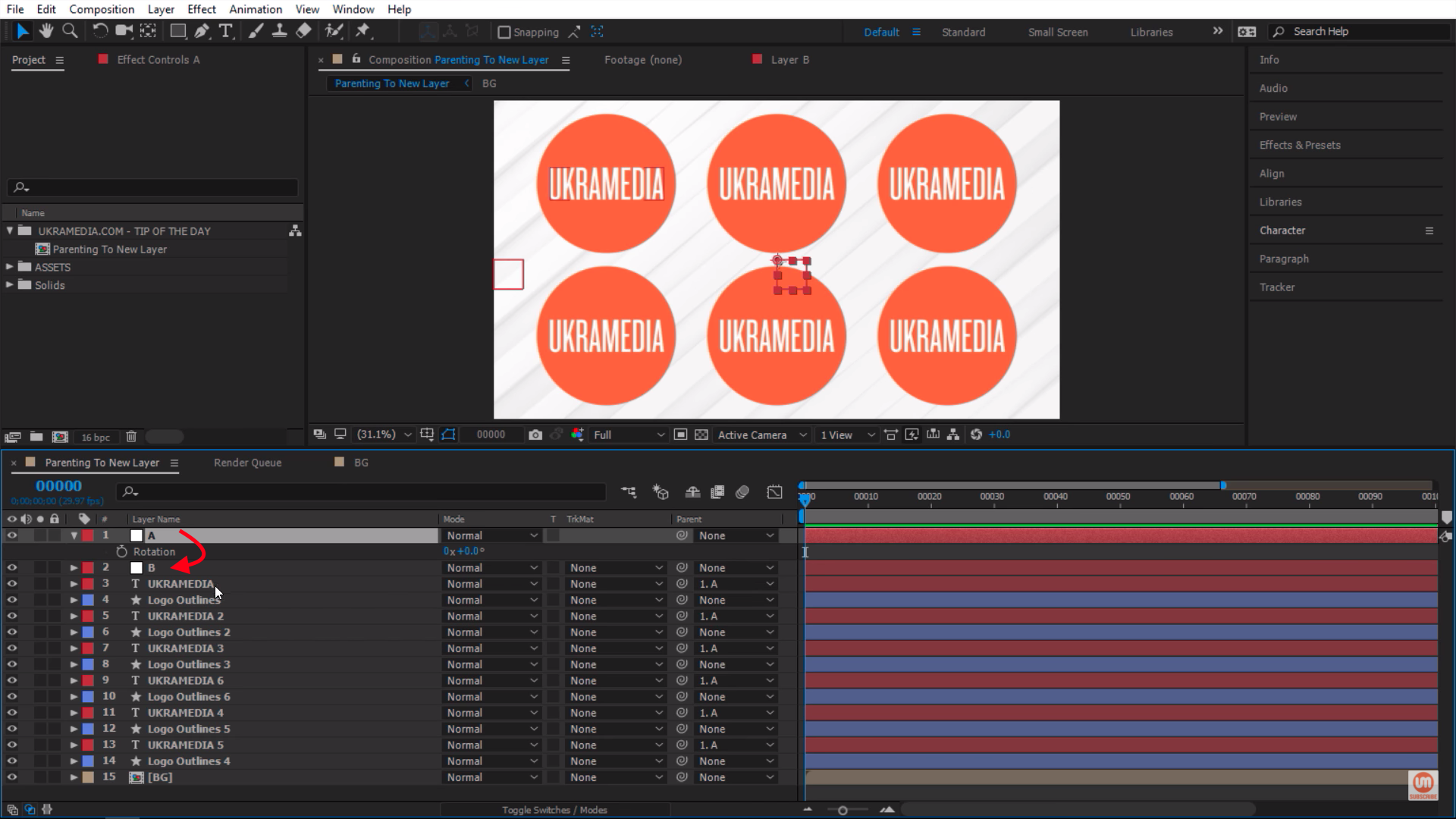 Switching from a to b in After Effects