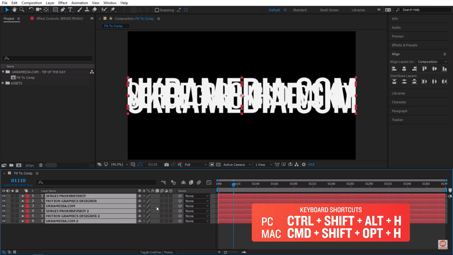 Text layers scaled proportionally to After Effects composition
