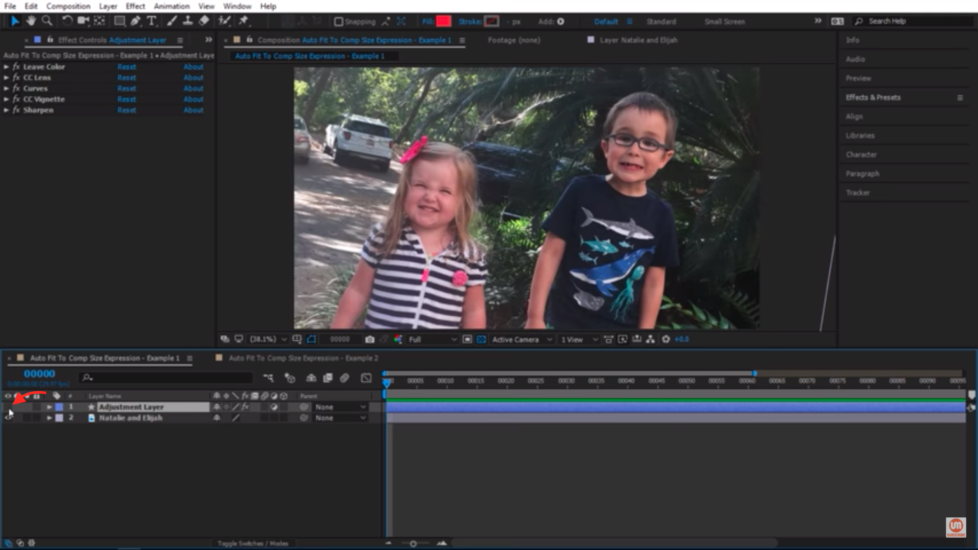 Turn off adjustment layer in After Effects