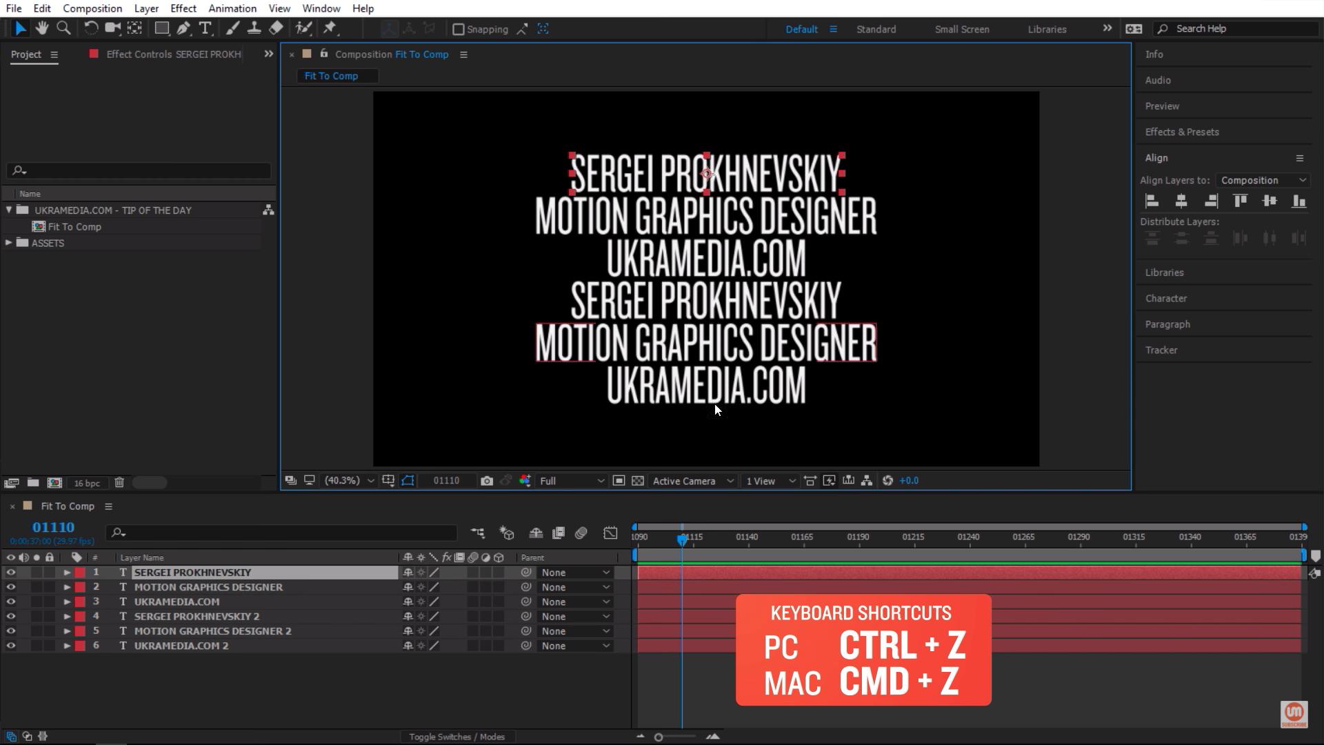 Undo keyboard shortcut in Adobe After Effects