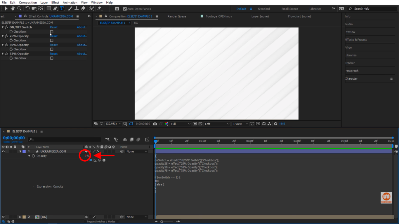 0 percent opacity in After Effects