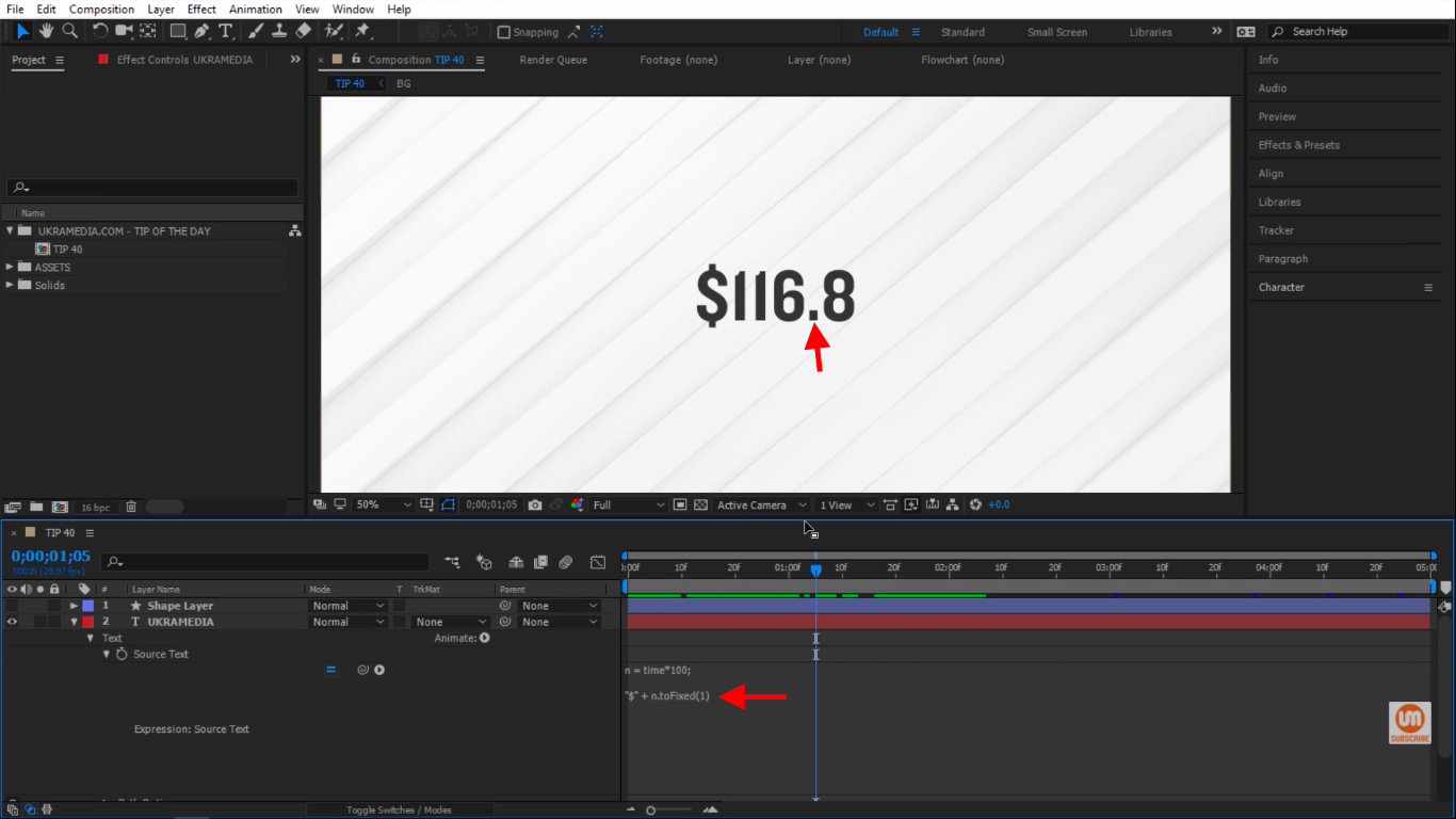 Add one inside of the toFixed parenthesis in After Effects