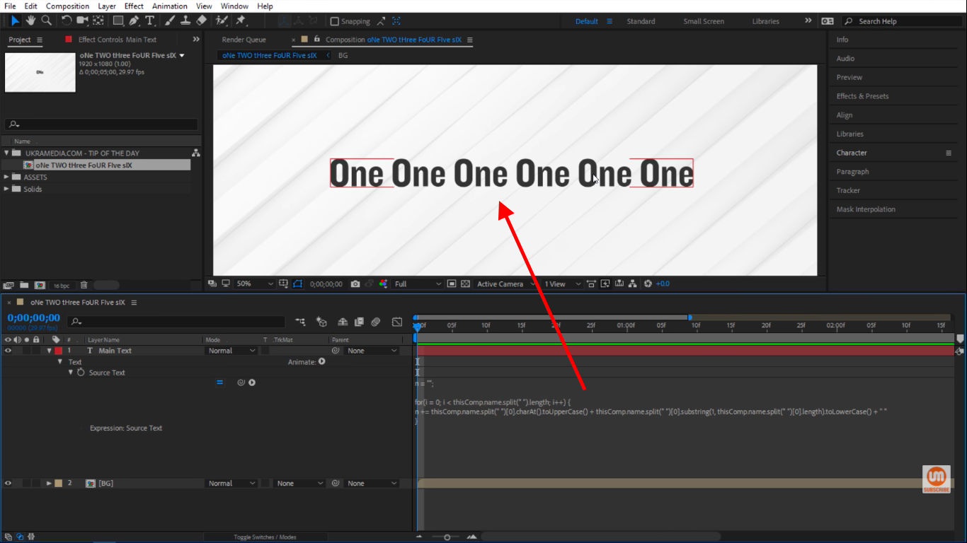 Add space in After Effects Expressions