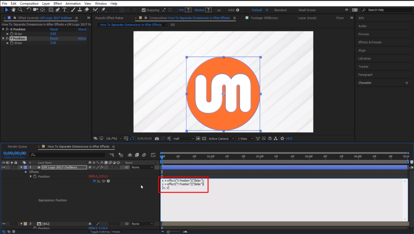Both sliders are linked up in After Effects
