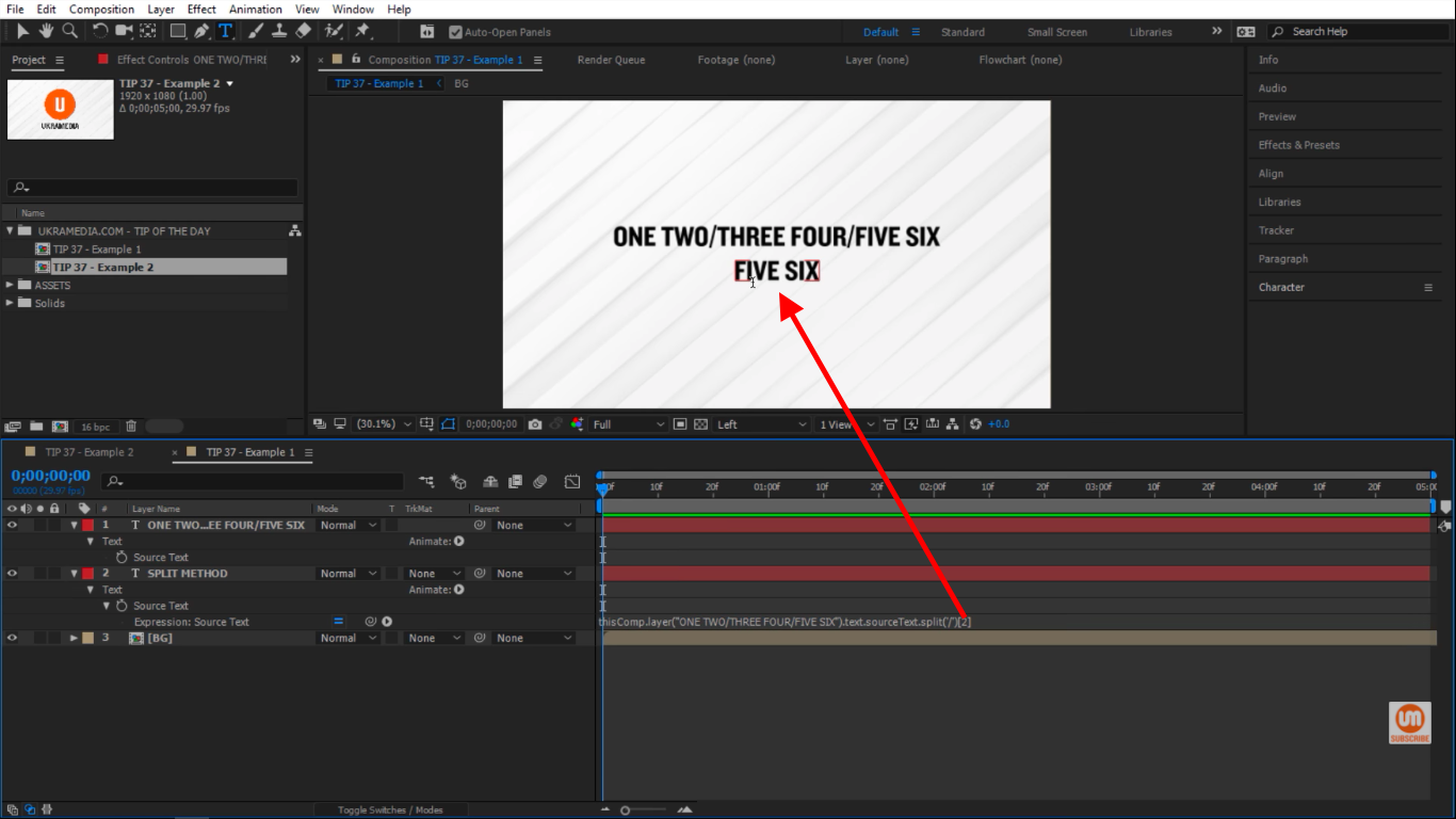 Calling out index 2 in After Effects split method