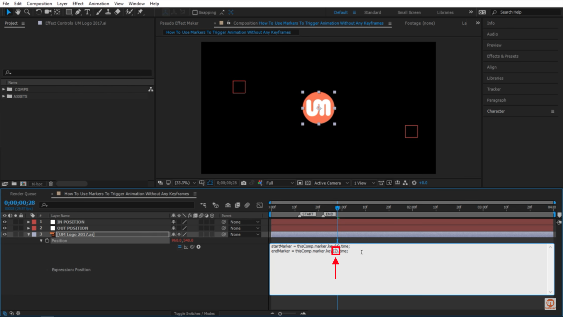 Change the index in After Effects