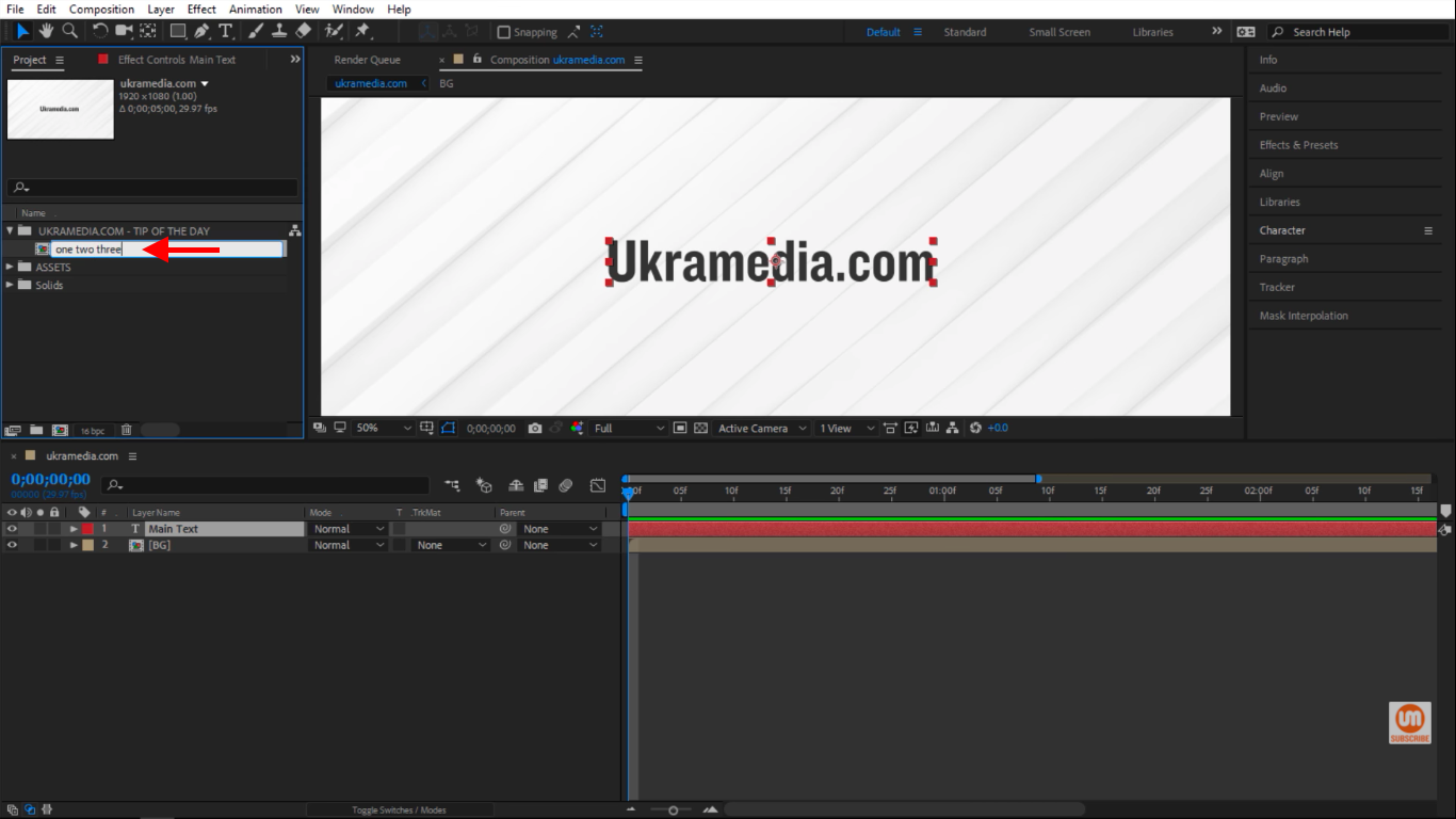 Change the title of my composition in After Effects