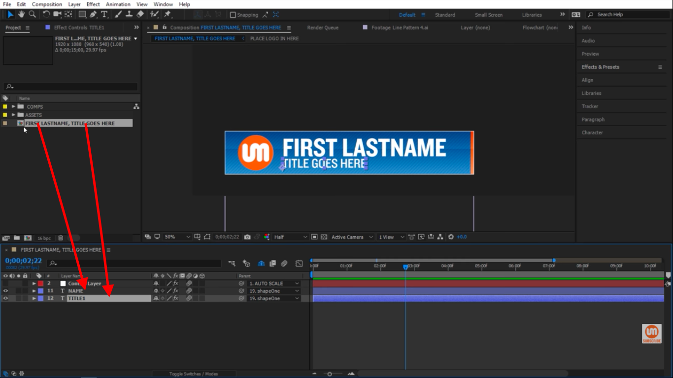 Changing the name and title from the composition in After Effects