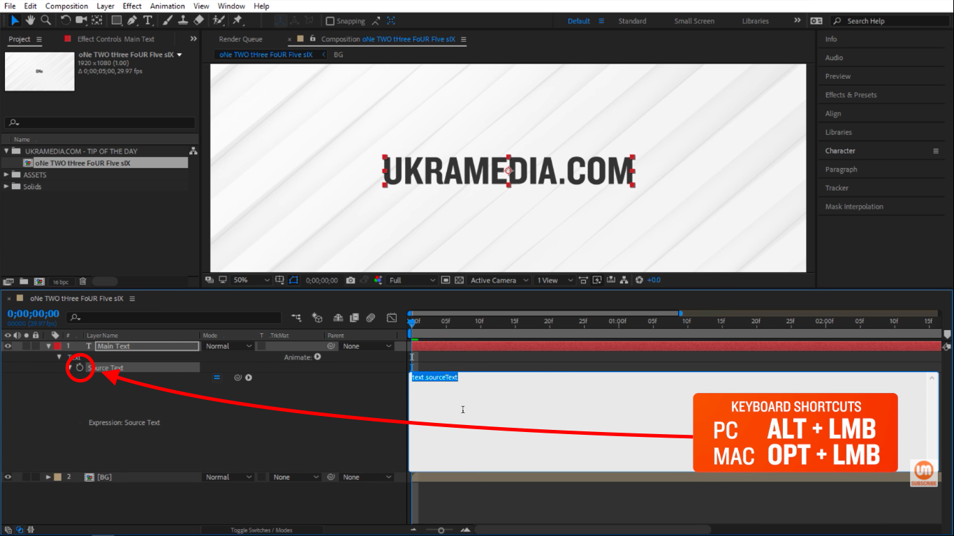 Click on the stopwatch icon in After Effect to create an Expression